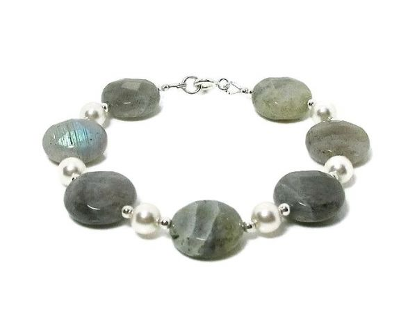 Faceted Labradorite Coins Bracelet With White Swarovski Pearls & Sterling Silver | Silver Sensations